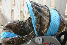 infant car seat cover and hood cover realtree camo with teal minky