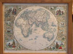 EASTERN HEMISPHEREANTIQUE MAP by J.Tallas & comp engraved by J.Rogers
