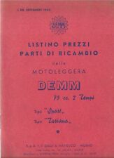 DEMM MOTO 75CC TIPO SPORT TURISMO PARTI RICAMBIO LISTINO PREZZI SETTEMBRE 1960