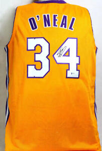 Shaquille O'Neal Autographed Yellow Los Angeles Jersey - Beckett W Auth *4