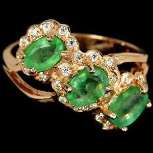 NATURAL AAA GREEN EMERALD OVAL & WHITE CZ STERLING 925 SILVER RING SIZE 7.25
