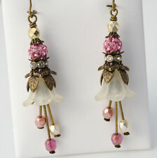 Ivory Cream Blooming Lily Lucite Flower Pink Crystal Pale Coral Glass Earrings