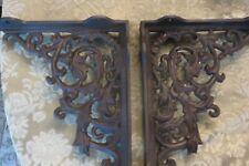 Cast iron corner Brackets Shelf Bracket Leaf Leaves Scroll Pattern Brown Pair