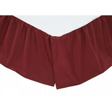 Solid Burgundy Queen Bedskirt Dust Ruffle Rustic Primitive Cotton Vhc Brands