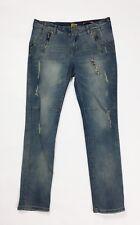 Jeans donna skinny stretch usato XL strappi denim aderenti destroyed hot T3971
