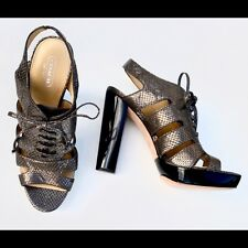 "Coach MOREEN Platform Lace-Up Pump Slingback 4"" Sandals Bronze 8.5  TLC USED TLC"