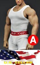 1/6 men CK white Tank top Underwear for phicen M34 M33 muscular body ❶US Seller❶