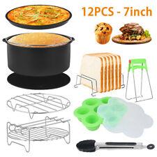 """12 pièces accessoires friteuse air plaque cuisson 7 """"Pizza panier gril pot SH"""