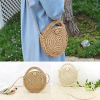 Fashion Women Straw Bag Woven Round Handbag Purse Crossbody Summer Beach Bags