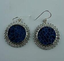 Sterling Silber Ohrringe  aus Bali  blaue Koralle  Ohrhänger