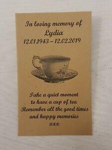 10 Personalised Tea Bag Favour Envelopes Funeral Memorial Remembrance (unfilled)