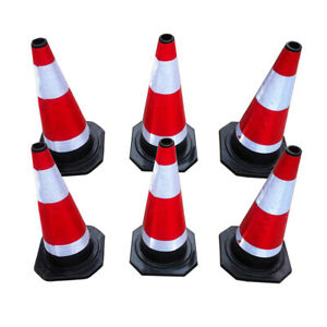 """PACK OF 6 Road Traffic cones 18"""" (450mm) Self weighted Safety Cone"""