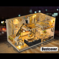 3D Realistic Miniature Dollhouse Kit w/ Dustcover Crafts Mini Wooden Doll House