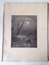 Londres, Raro Original Antigua Gustave Dore impresión 1872, hay-barcos en el Támesis