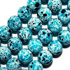 MAGNETIC HEMATITE BEADS PAINTED TURQUOISE BLACK & WHITE SPLASHES 6MM STRANDS MP9