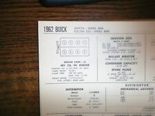 1962 Buick Invicta Electra 225 Models 401 V8 SUN Tune Up Chart Sheet Great Shape