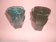 17121 2 Preßglas Becher Art Deco Grün Violett pressed glass cup green