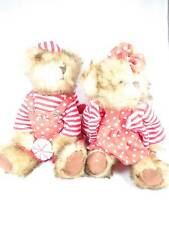 Vintage Tender heart Collectible set of 2 Brown bears Red polk a dot outfits