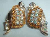 VINTAGE GOLDTONE TOPAZ AURORA BOREALIS RHINESTONE CLIP EARRINGS IN GIFT BOX