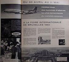 PUBLICITÉ SABENA RENDEZ-VOUS DES HOMMES D'AFFAIRES FOIRE DE BRUXELLES 1960