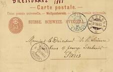 ENTIER POSTAL SUISSE BRESSORNAZ LAUSANNE  / PARIS 1885