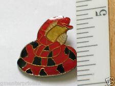 Vintage Rattlesnake Red/Black Snake Pin