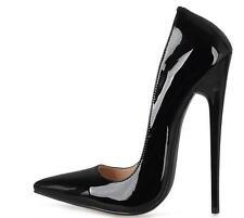 Chic Womens Super High Heel 16cm Pumps Pointed Toe Stilettos Patent Leather Shoe