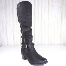 New Spring Step Rain Snow Black Boots Size 8.5 Womens Adjustable Calf Width