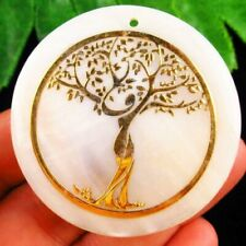 50x2mm White Shell Round Life Of Tree Pendant Bead