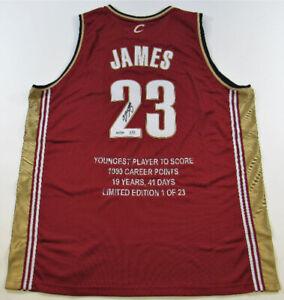 Lebron James Signed Cleveland Cavaliers STAT Jersey Ltd Ed #14/23 UDA Upper Deck