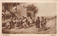 b37627 th aman hora painting postcard romania types folklore dance costumes