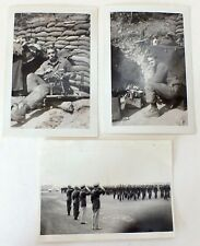 Handsome Soldier with Machine Gun & Troop Inspection Glossy Snapshots WW2