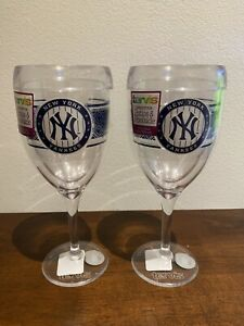 Tervis Wine Glass Set Lot Of Two 9oz Set. MLB NY Yankees. Patio & Poolside. NEW!