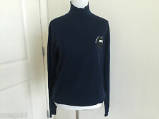 MARKUS LUPFER SEQUIN LARA LIP NAVY BLUE 100% WOOL TURTLENECK SWEATER SMALL