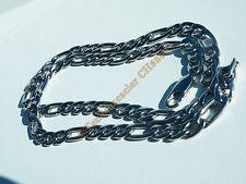 Collier Chaine 7 mm Pur Acier Inox Maille Figaro 3 + 1