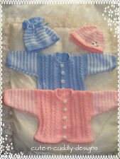 Baby /Reborn doll designer knitting pattern Cardigan/hat/shoes/bootees