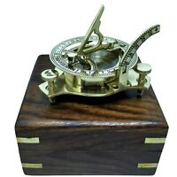 VINTAGE MARITIME PIRATE BRASS SUNDIAL COMPASS NAUTICAL DECOR GIFT ITEM