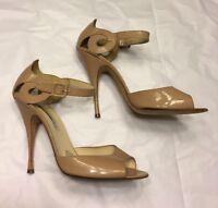 BRIAN ATWOOD heels shoes narrow nude beige peeptoe sandals designer 41 UK 8