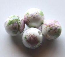 30pcs 10mm Round Porcelain/Ceramic Beads - White / Pale Lilac Peony Flowers
