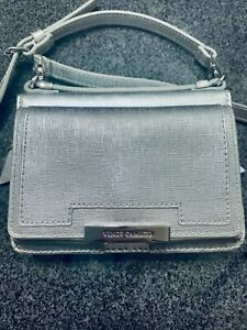 New Vince Camuto Crossbody Small Leather Silver Hardware Purse