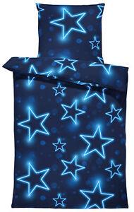 Sterne Bettwäsche 135x200 cm Stern dunkel blau leuchtoptik Mikrofaser Garnitur
