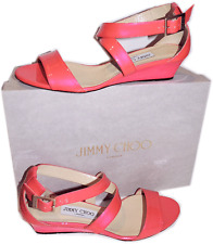 Jimmy Choo Pink Chiara Strappy Patent Sandals Low Wedge Slingback 38 Shoe