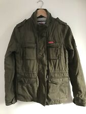 Ladies Superdry Military Jacket Khaki Green Sherpa Lined Size Small Winter Coat