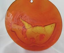 Michael Bang Holmegaard Orange/Amber Elephants Noah's Ark Suncatcher 11.5cm 10.5
