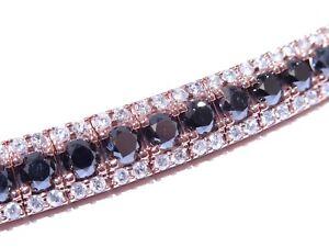 Mens 10k Rose Gold 28.30ct Round Cut White & Black Diamond 68.4 Gram Bracelet