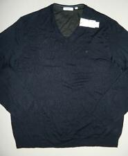 Calvin Klein Men's V Neck Sweater 100% Merino Wool Navy NWT Size XXL SW338