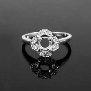 Silver 5 mm Round Semi Mount Ring Silver 5 mm Round Ring Blanks Engagement Ring