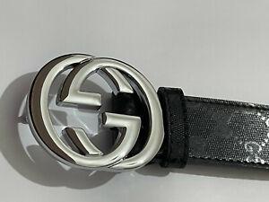 Gucci Belt Mens Silver Buckle