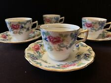 Royal Doulton Booths Floradora Demitasse Cups And Saucers Set Of Four