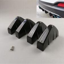 4Pcs Shark Fins Car Rear Bumper Spike Diffuser Spoiler Scratch Guard Carbon Look